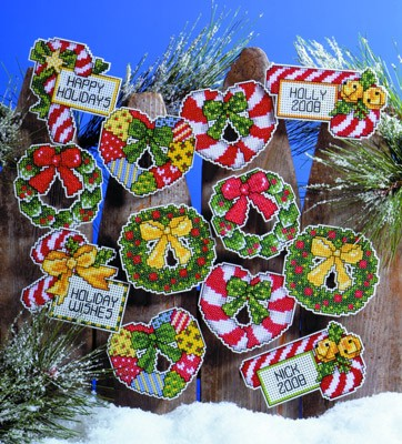 Candy Canes and Wreaths Ornaments
