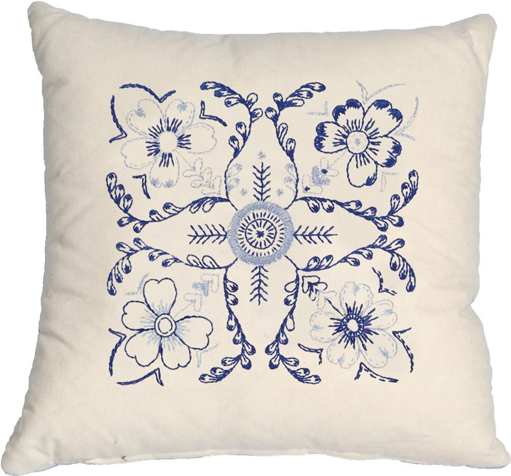 Blue Floral Value Cushion Front