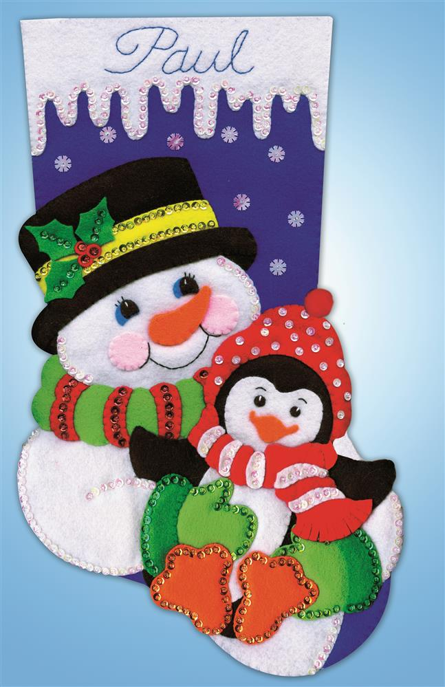 Snowman and Penguin Stocking