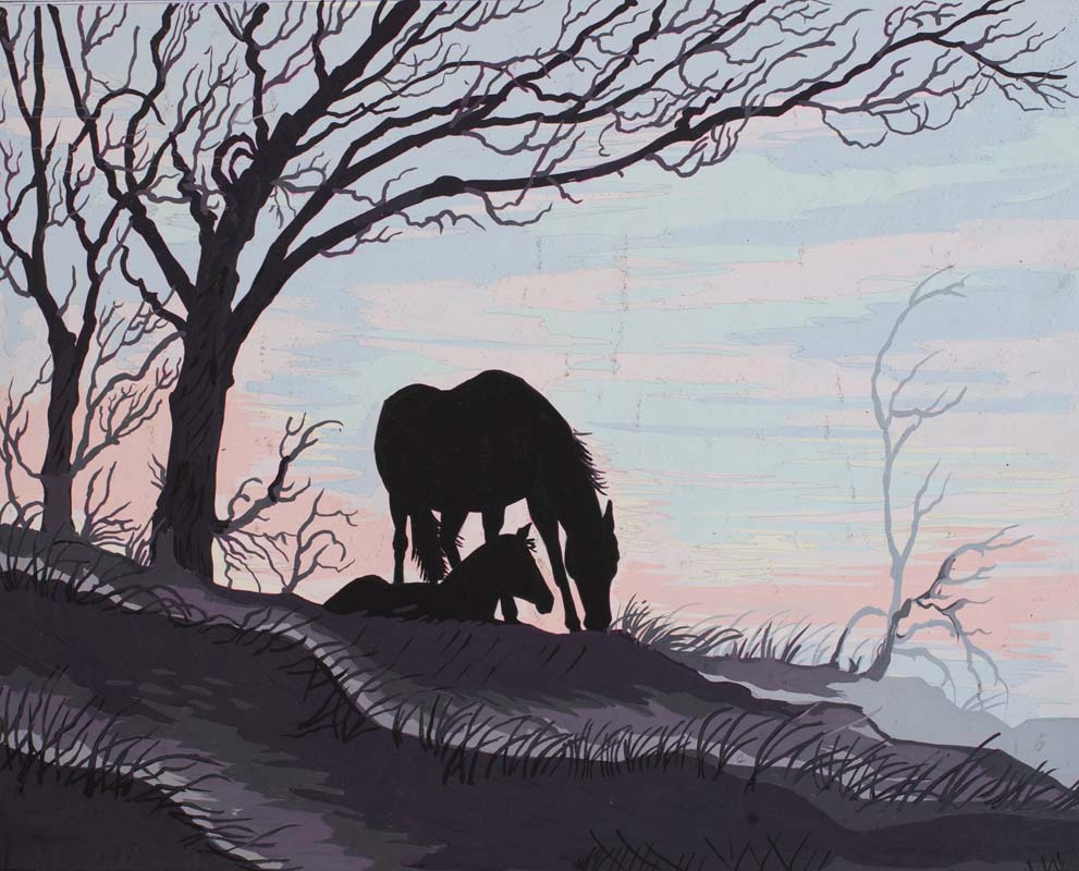 Mare and Foal Silhouette