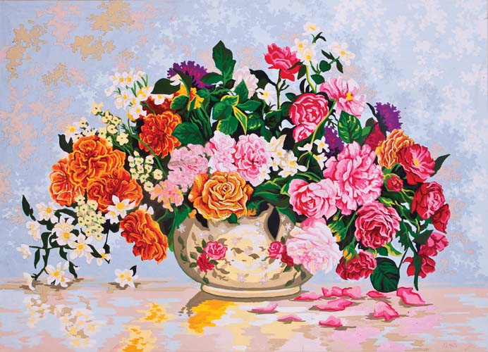 Roses in a China Bowl