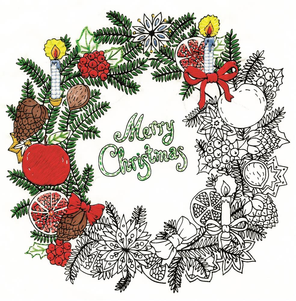 Zenbroidery Printed Fabric - Christmas Wreath