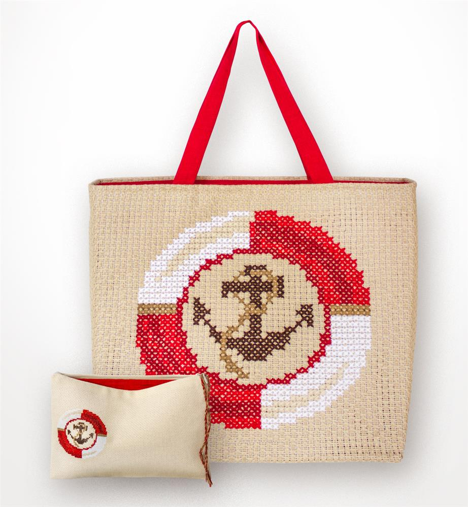 Red Anchor Bag and Purse Set