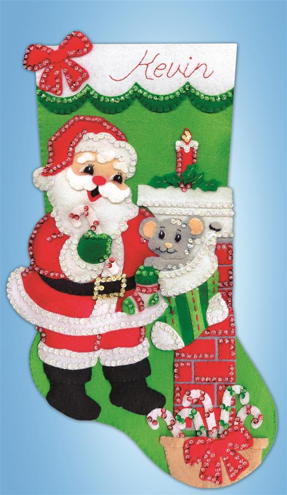Santa with Mouse Stocking