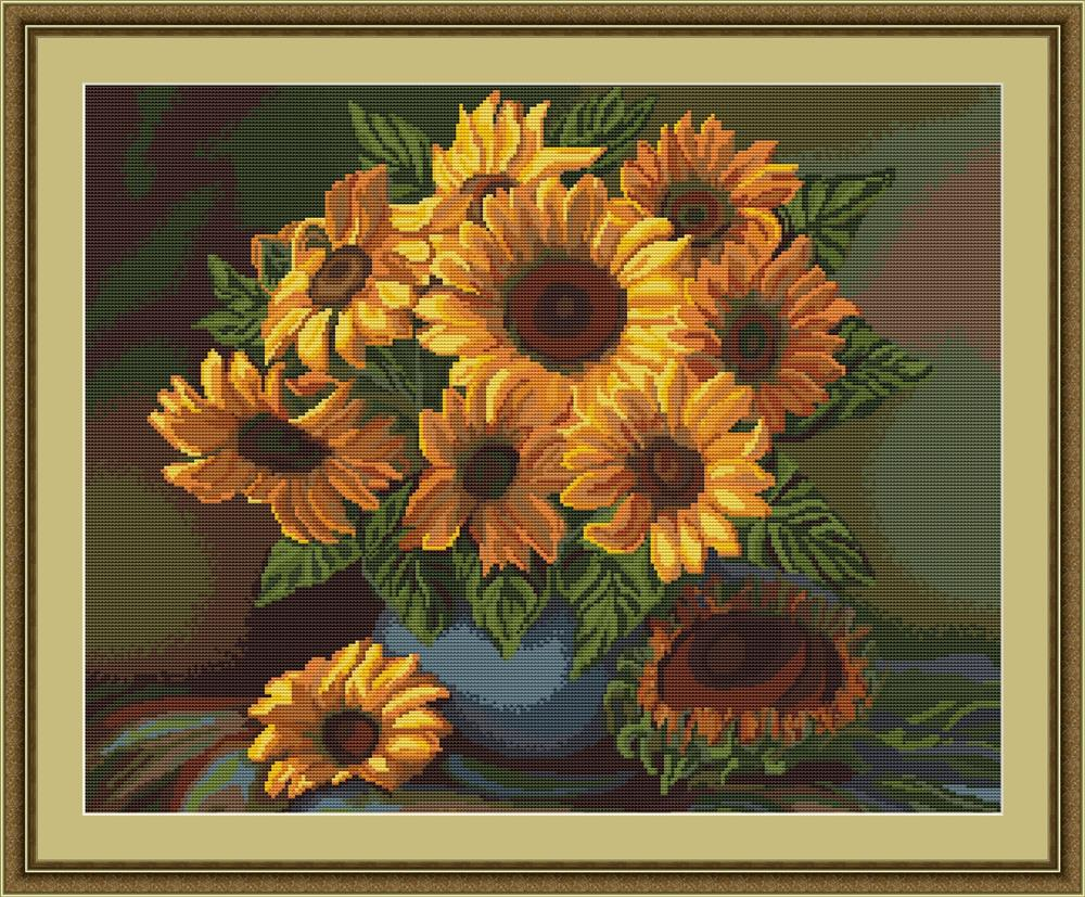 Vase of Sunflowers - Petit Point