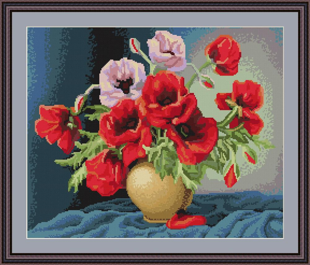Vase of Poppies - Petit Point