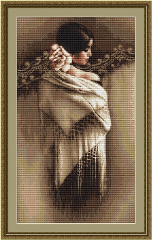 Spanish Lady with Shawl - Petit Point