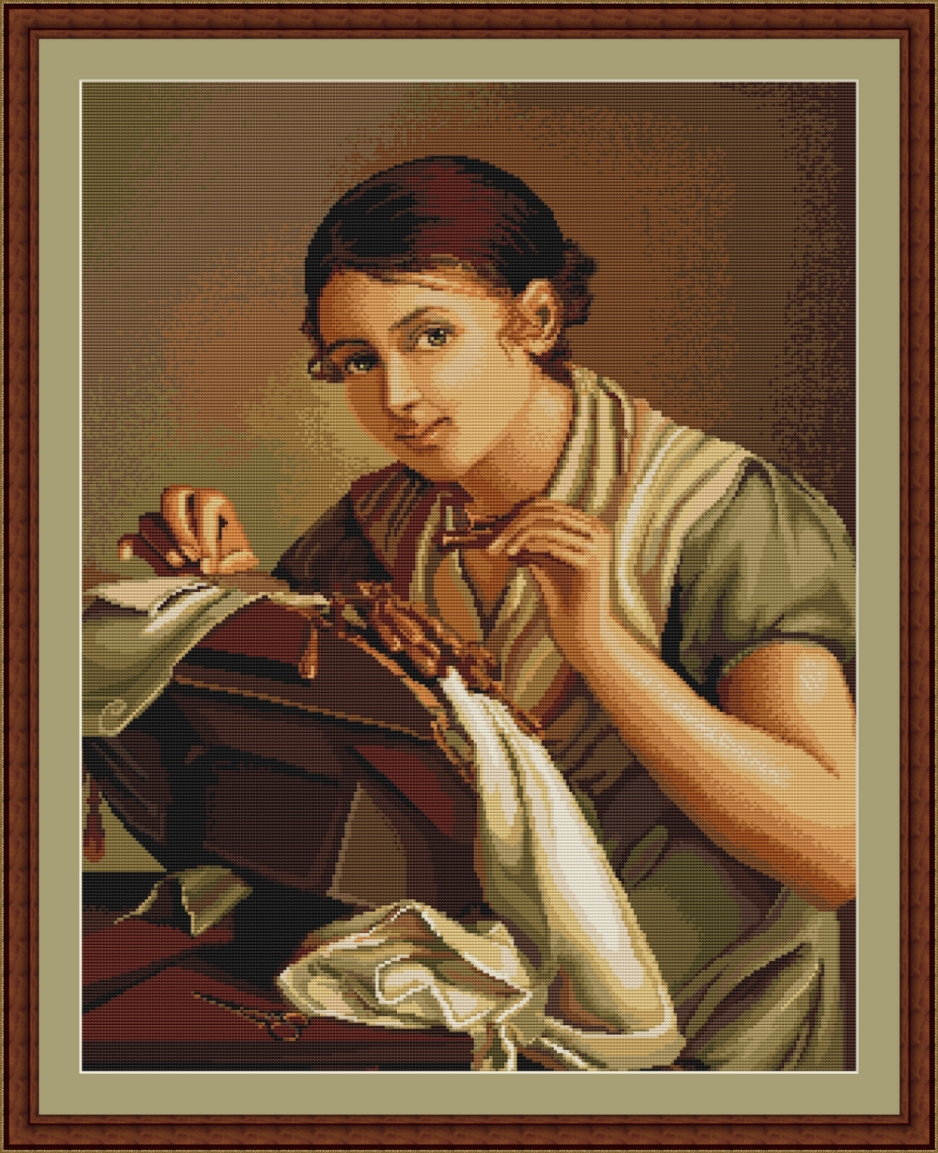 Lady Sewing - Petit Point