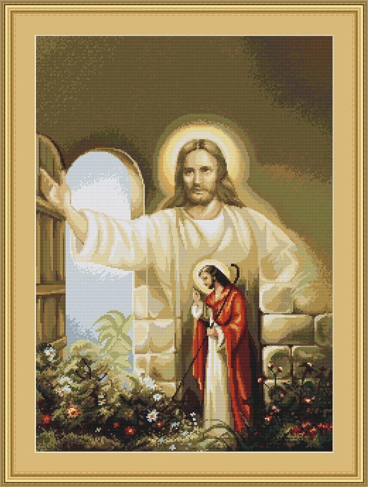 Christ at Hearts Door - Petit Point