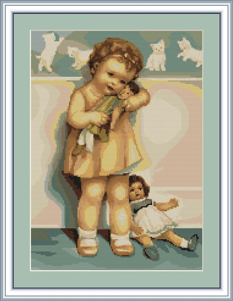 Girl with Doll - Petit Point