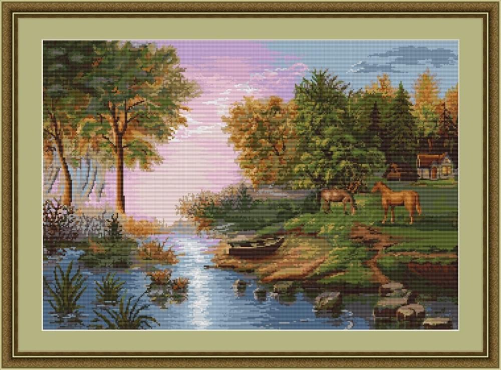 Lakeside Horses - Petit Point