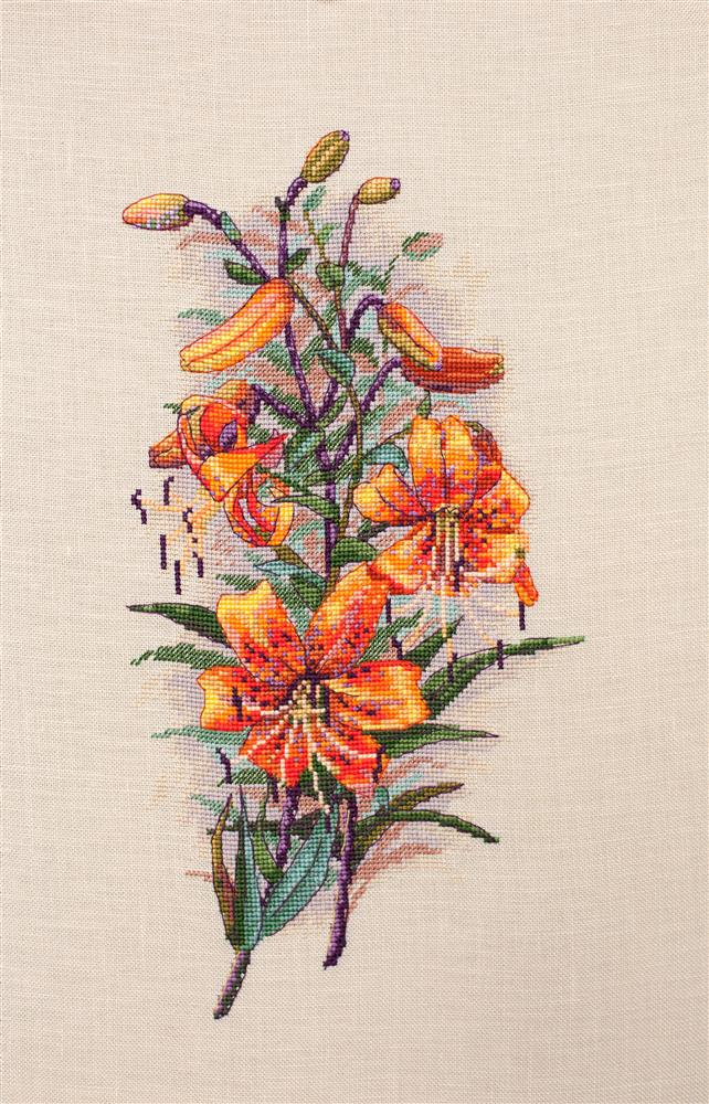Vintage Lilies on Linen