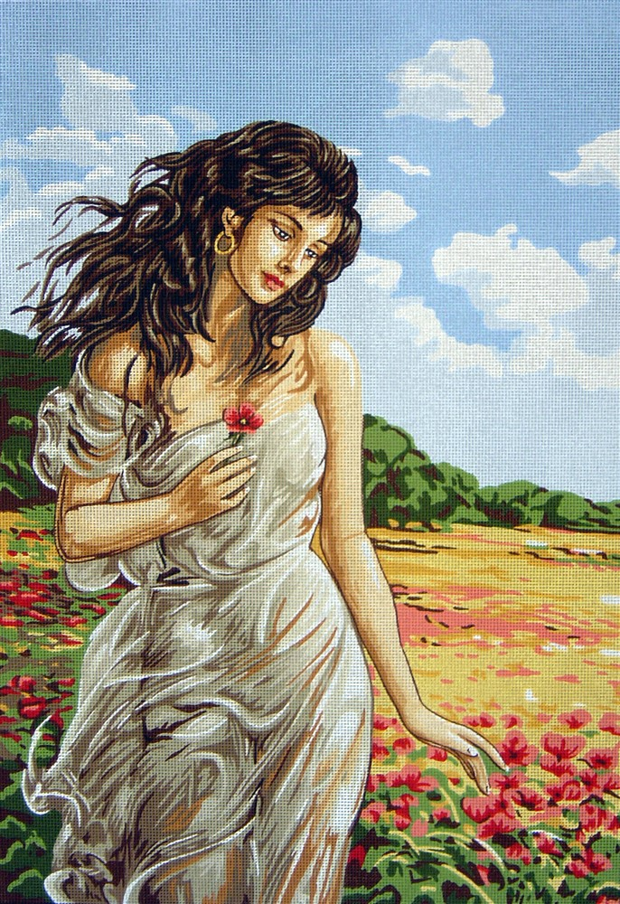 Classic Lady in the Poppy Field