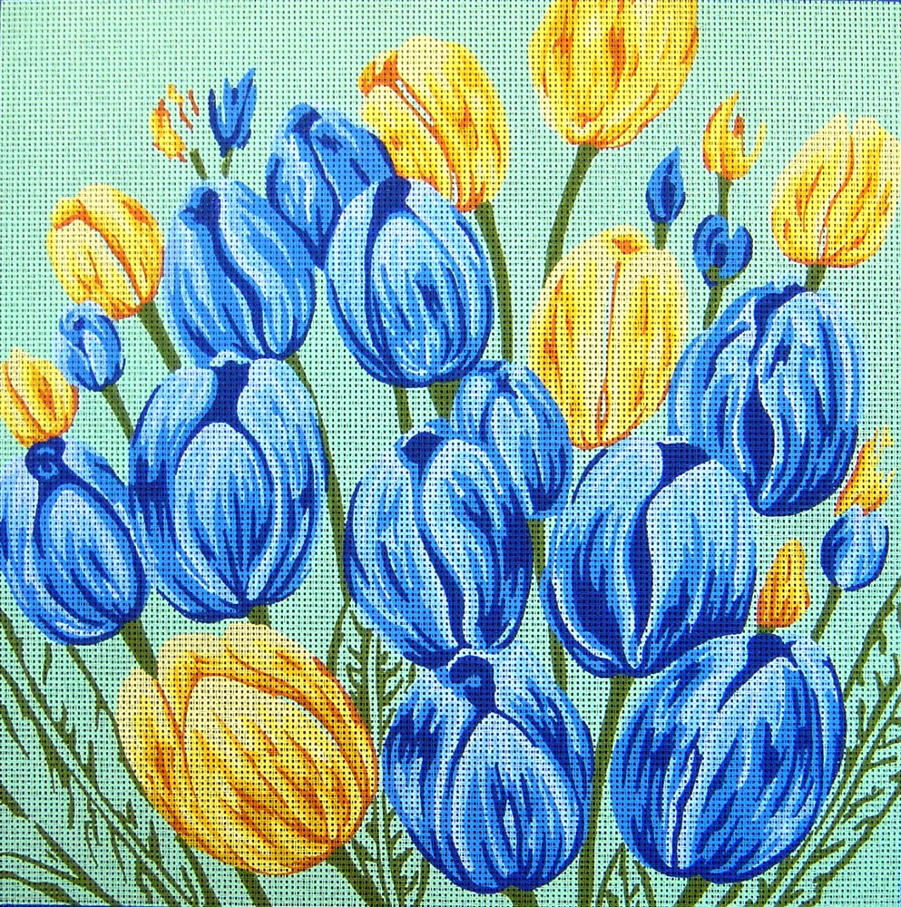 Blue and Yellow Tulips