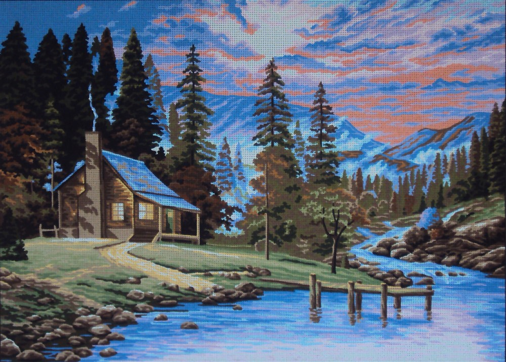 Cabin by a Stream