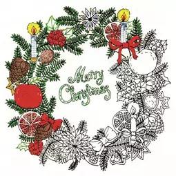 Zenbroidery Printed Fabric - Christmas Wreath