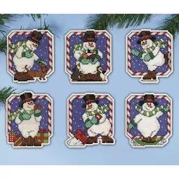 Candy Cane Snowman Ornaments