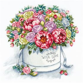 Peonies in a Hat Box