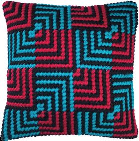 Blue and Red Bargello
